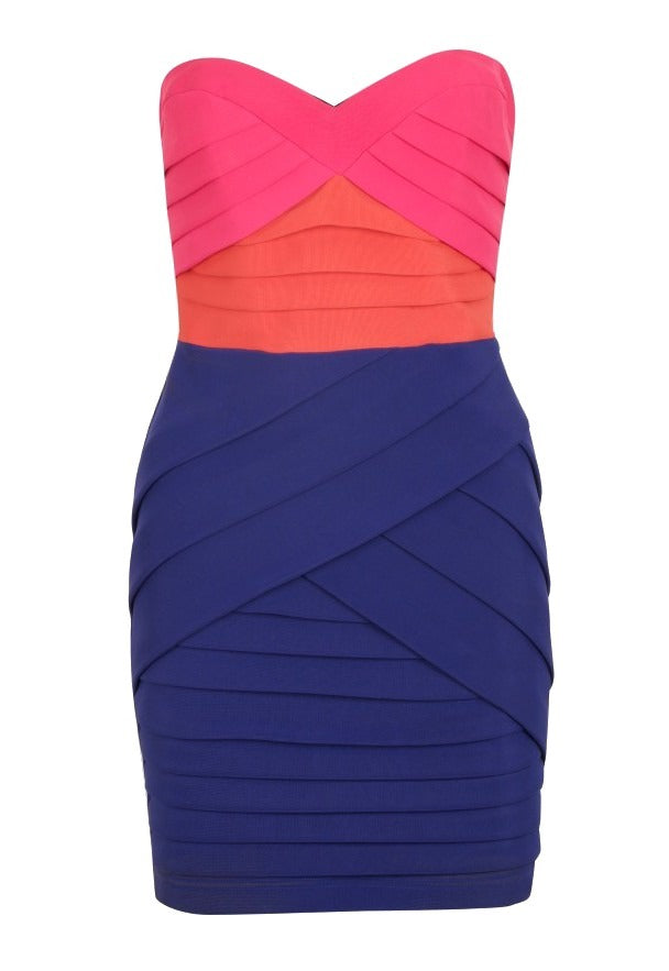 Pixie Bandeau Colour Block Panelled Dress - Glitzy Angel