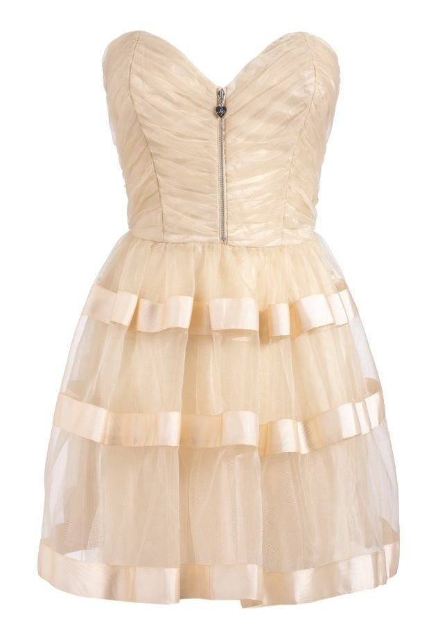 Lipsy Pixie Ruched Bustier Full Skirt Dress - Gold - Glitzy Angel