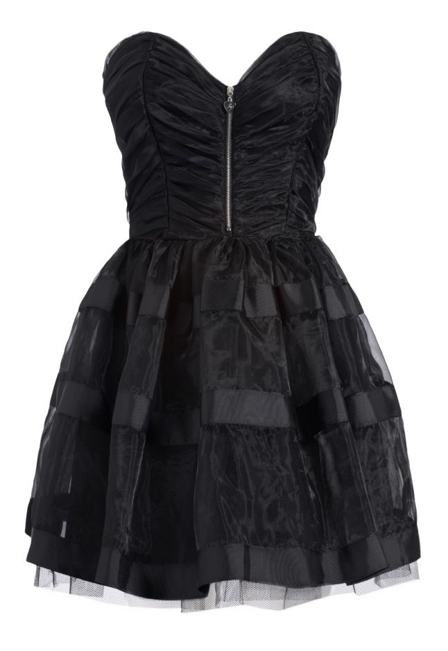 Lipsy Pixie Ruched Bustier Full Skirt Dress - Black - Glitzy Angel