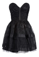 Lipsy Pixie Ruched Bustier Full Skirt Dress - Black