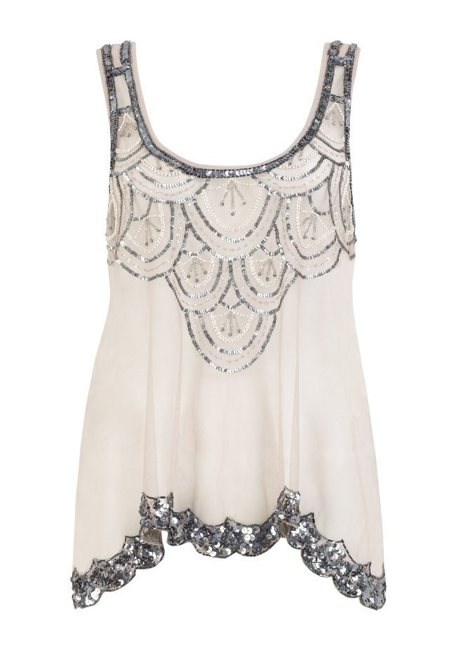 Pixie Scalloped Beaded Vest Top - Glitzy Angel