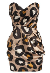 Pixie Strapless Oversized Animal Print Dress