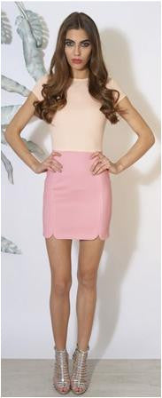 Rare Blush Peach And Pink Mini Dress - Glitzy Angel