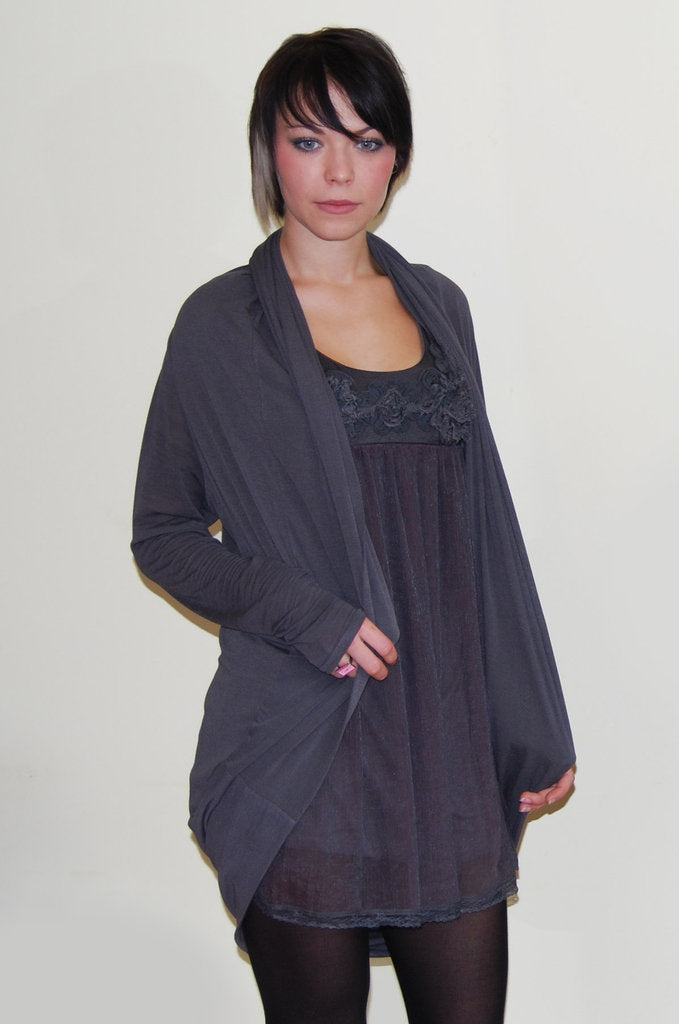 Rare Grey Long Cardigan - Glitzy Angel