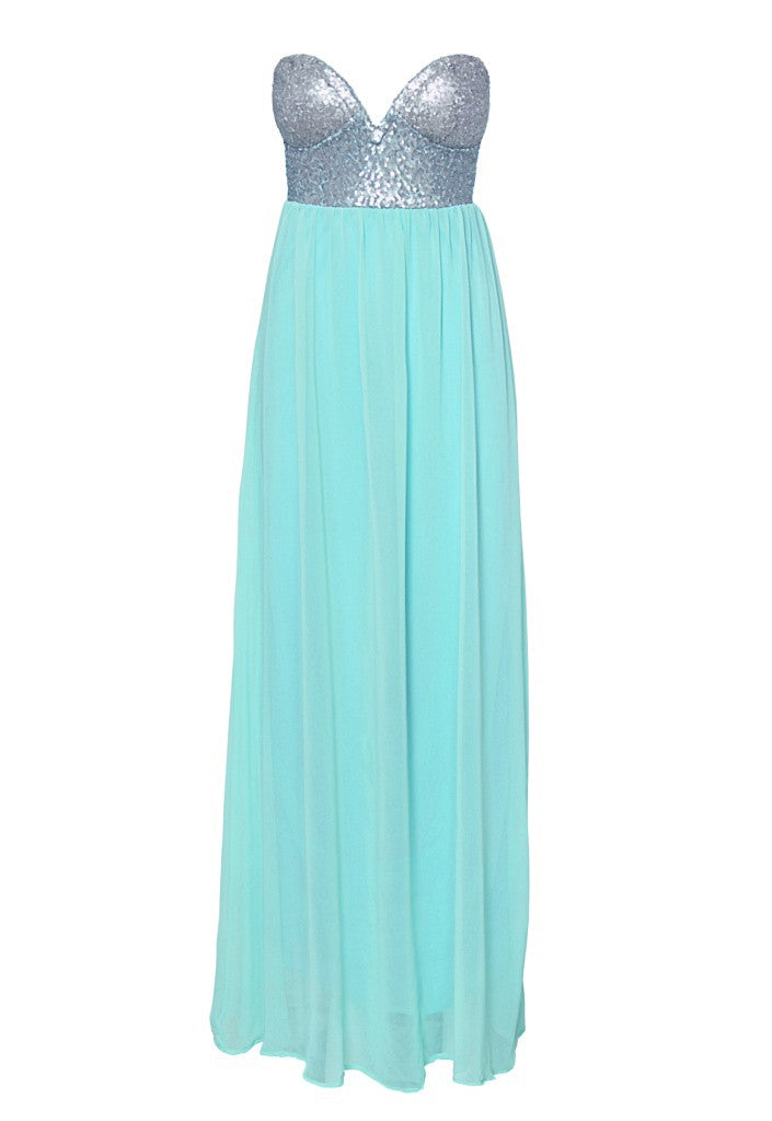 Reverse Mint Maxi Dress - Wedding Guest Maxi Dresses - Glitzy Angel