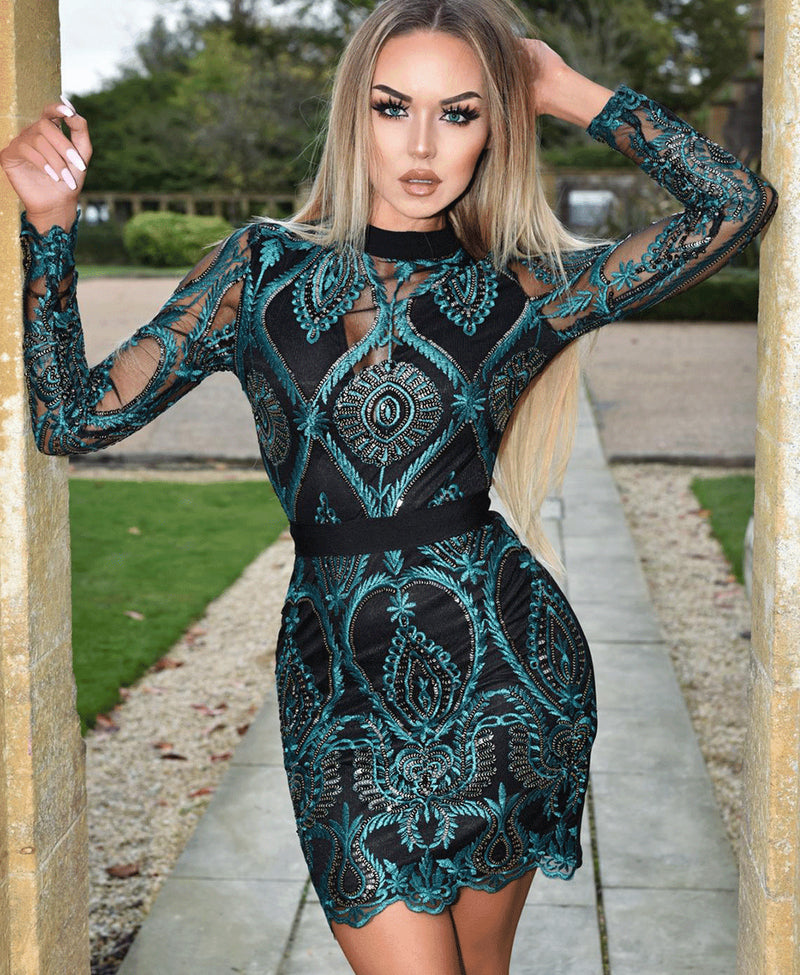 Sequin Lace Front High Neck Long Sleeve Mini Dress