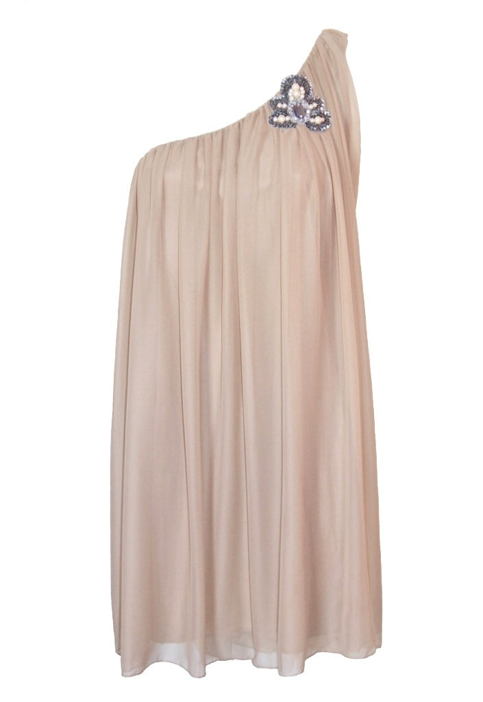 TFNC One Shoulder Embellished Detail Dress - Nude - Glitzy Angel