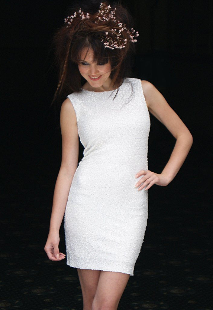 White Sequin Party Dress By TFNC - Glitzy Angel