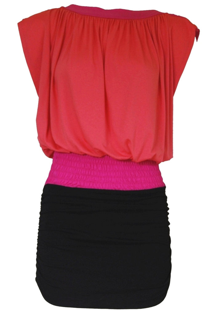 TFNC Wide Neck Jersey Dress - Coral Pink and Black - Glitzy Angel
