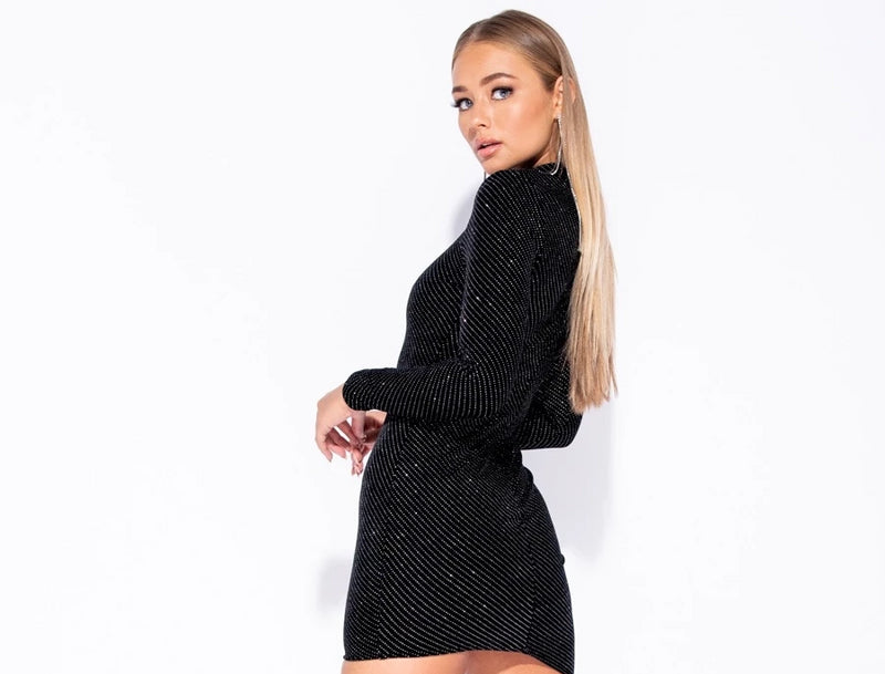 Velvet Glitter Print Long Sleeve Asymmetric Hem Bodycon Dress