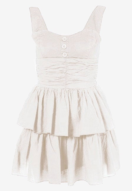 Wal G 3 Button Dress - White - Glitzy Angel