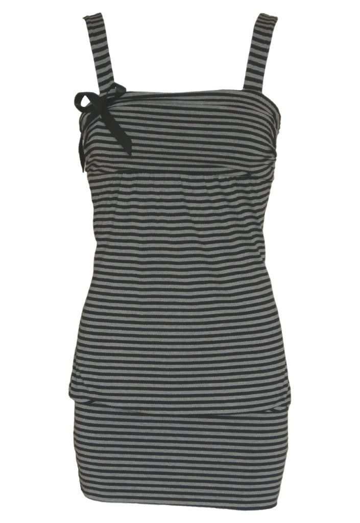 Wal G Black & Grey Stripe Tunic Dress - Glitzy Angel