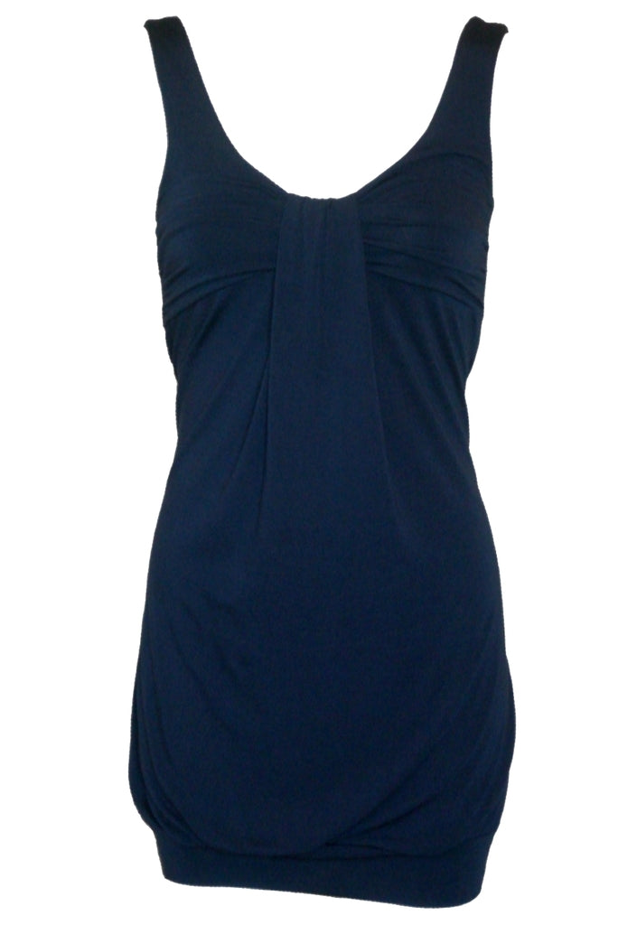 Wal G Gathered Knot Dress in Navy Blue - Glitzy Angel