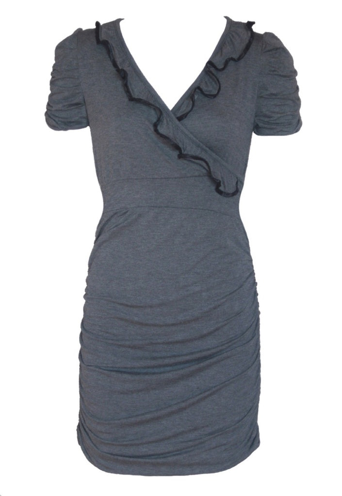 Wal G Grey Ruffle Dress - Glitzy Angel