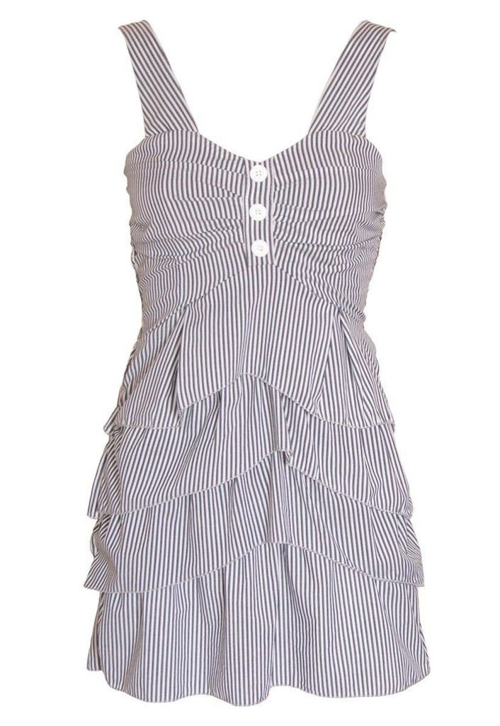 Wal G Pinstripe Tier Dress - Glitzy Angel