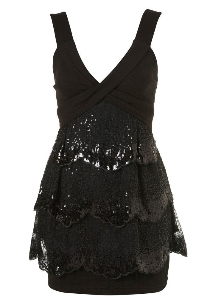 Wal G Sequin Skirted Dress - Glitzy Angel