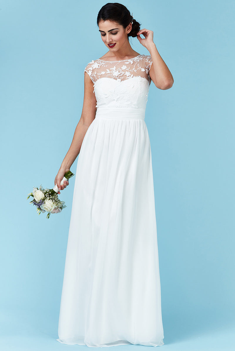 Goddiva White Chiffon Flower Detail Wedding Dress