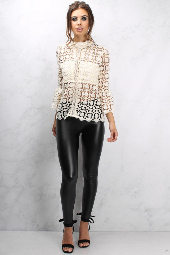 Rare Black Wet Look Leggings - Glitzy Angel