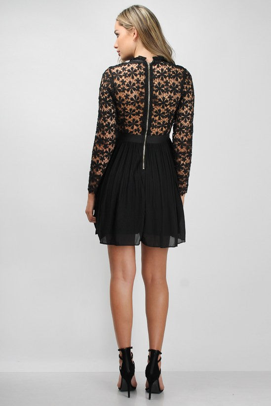 Rare Black & Nude Lace Crochet Pleated Dress - Glitzy Angel