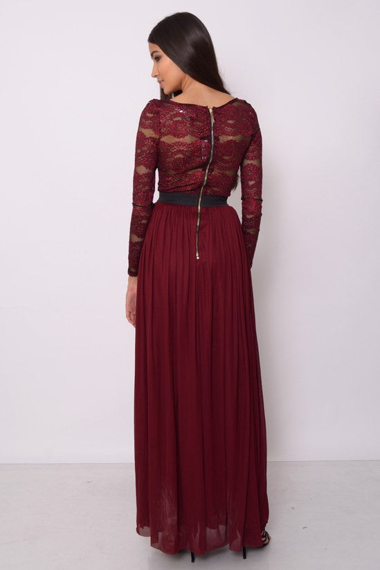 Rare Oxblood Long Sleeve Maxi Dress - Glitzy Angel