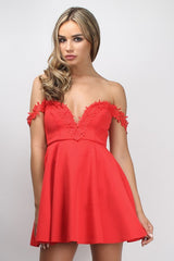 Rare Coral Crochet Trim Prom Dress