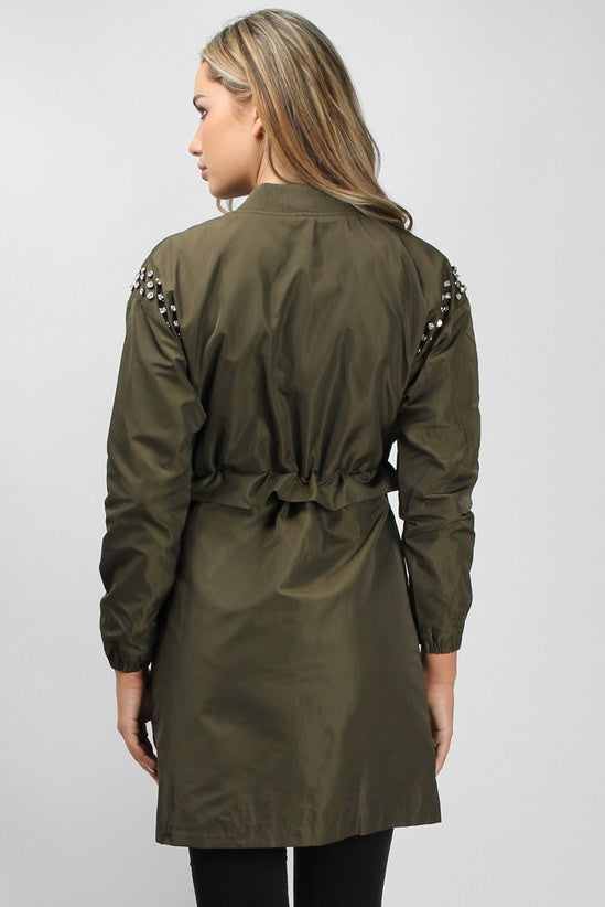 Rare Khaki Stud Trim Jacket - Winter Jackets for Women - Glitzy Angel