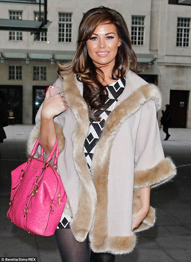 Jessica Wright Fur Trim Hooded Poncho - Glitzy Angel
