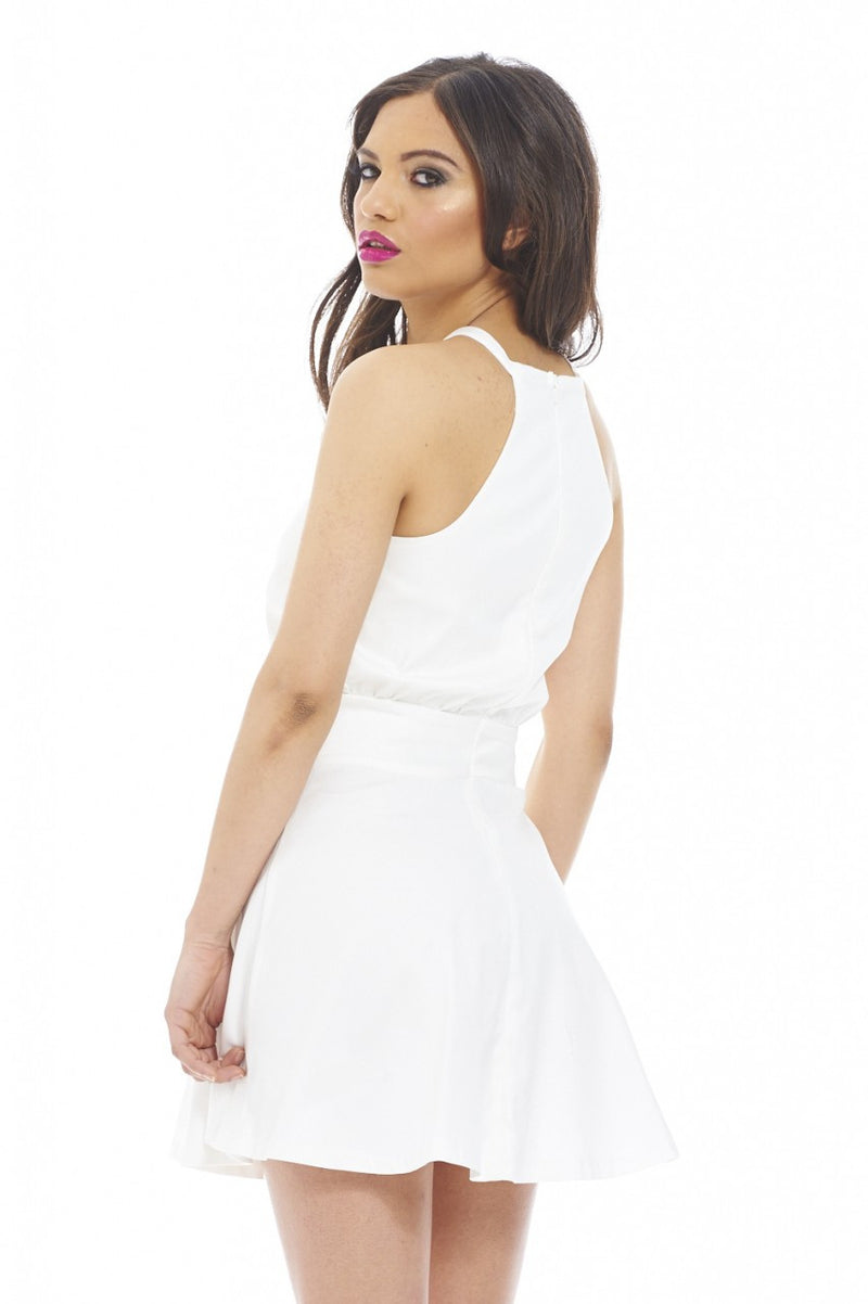 AX Paris Cut in Neck plain Skater Dress - Glitzy Angel