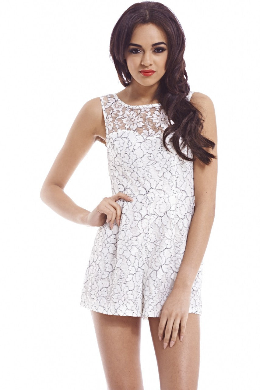AX Paris Contrast Thread Lace Playsuit - Glitzy Angel