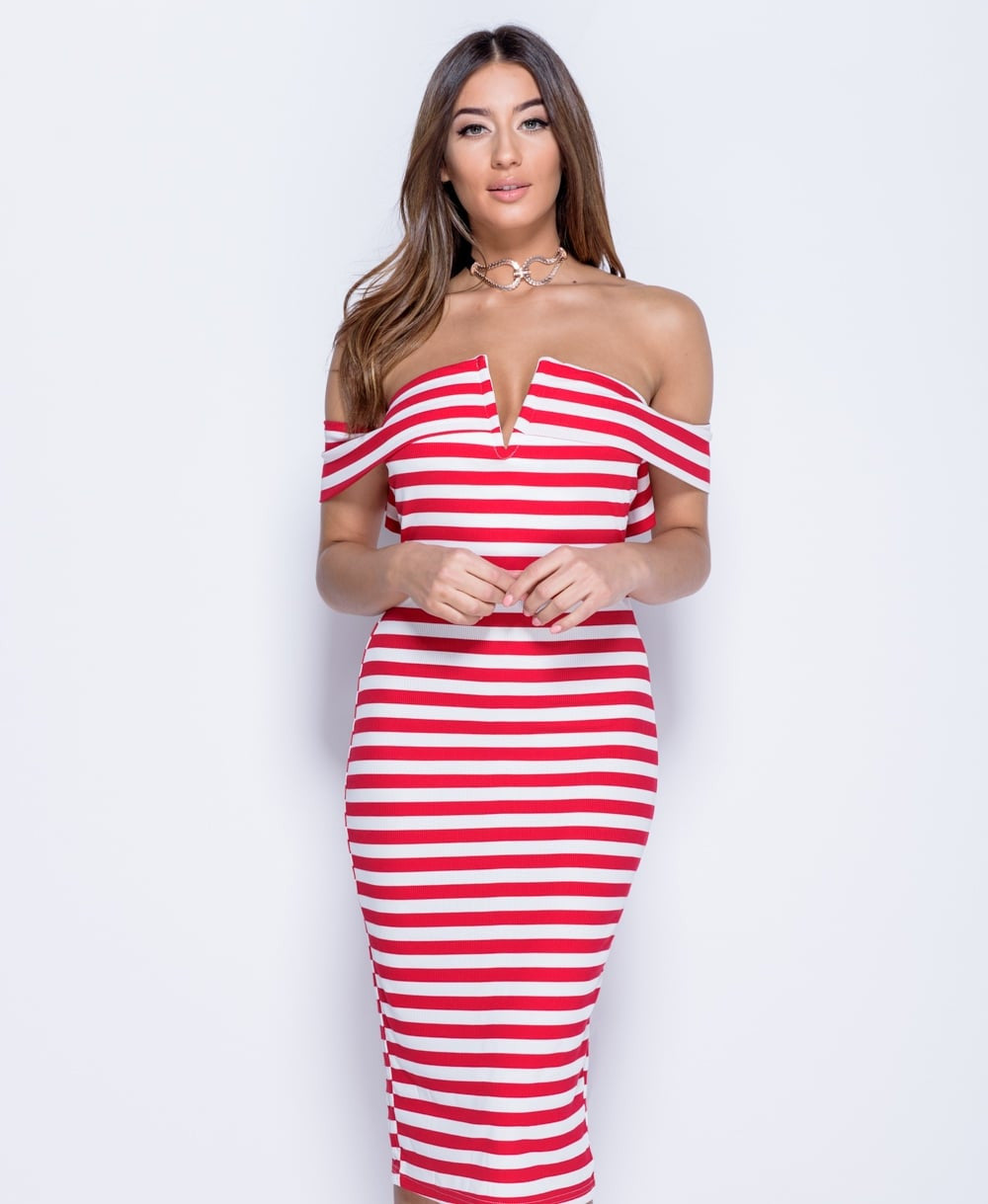 Bardot Stripe Print Midi Dress