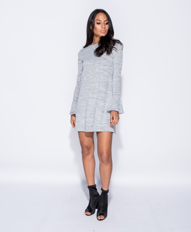 Grey Bell Sleeve Swing Dress