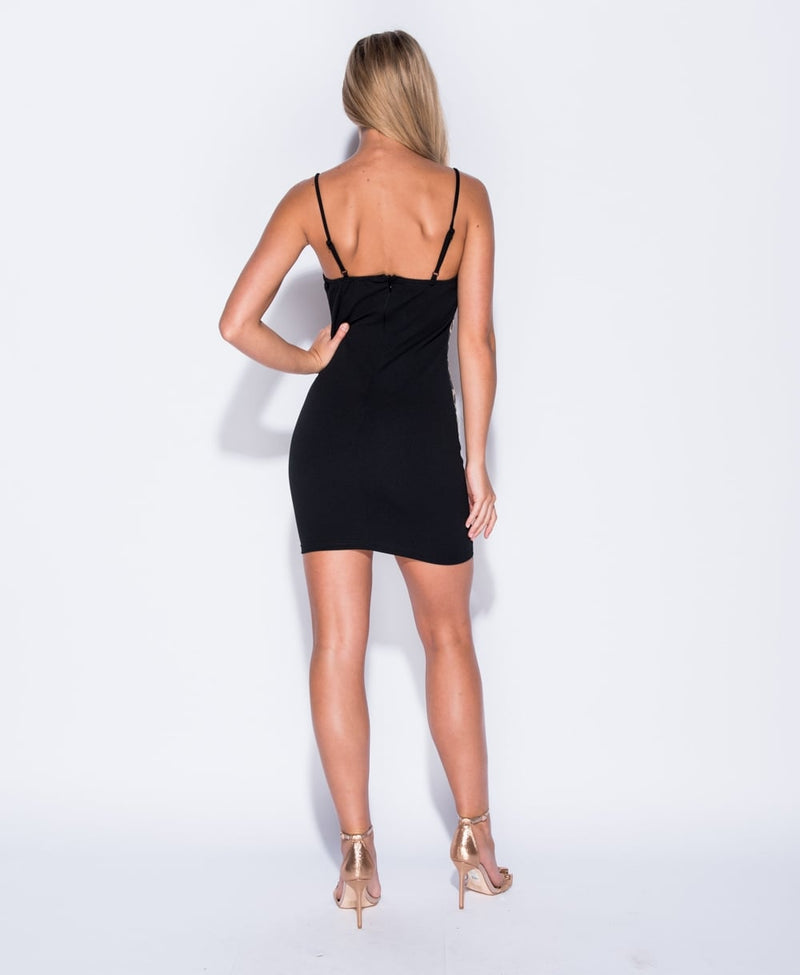 Black Brocade Bodycon Mini Dress