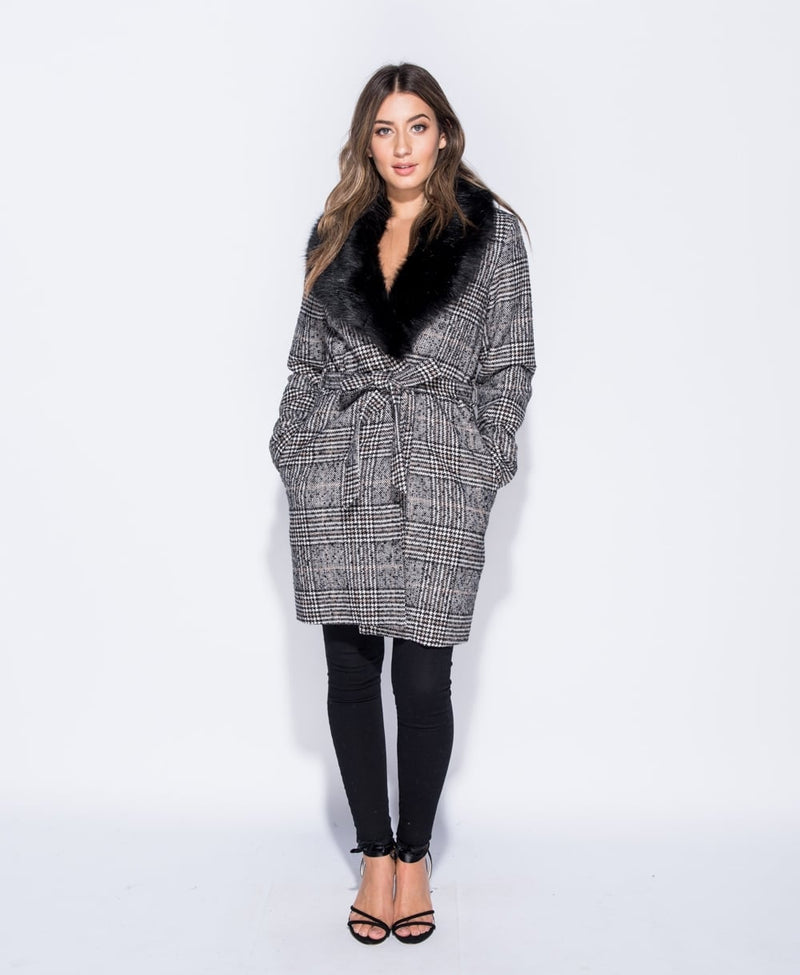 Check Faux Fur Collar Coat