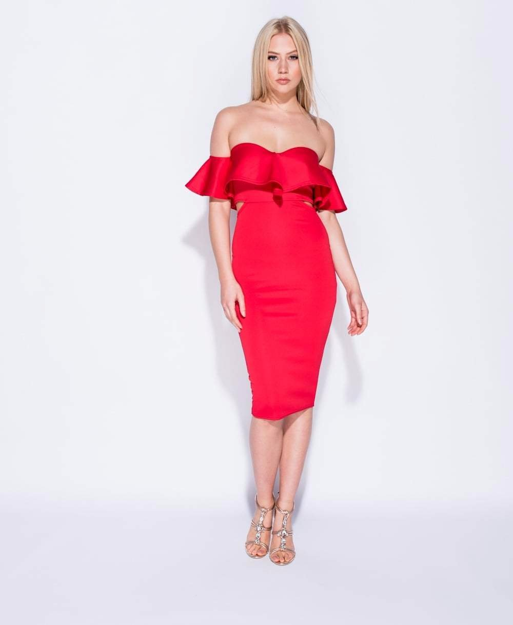 11f4a22898c2 Cut Out Waist Bardot Midi Dress - Red Christmas Dresses – Glitzy Angel