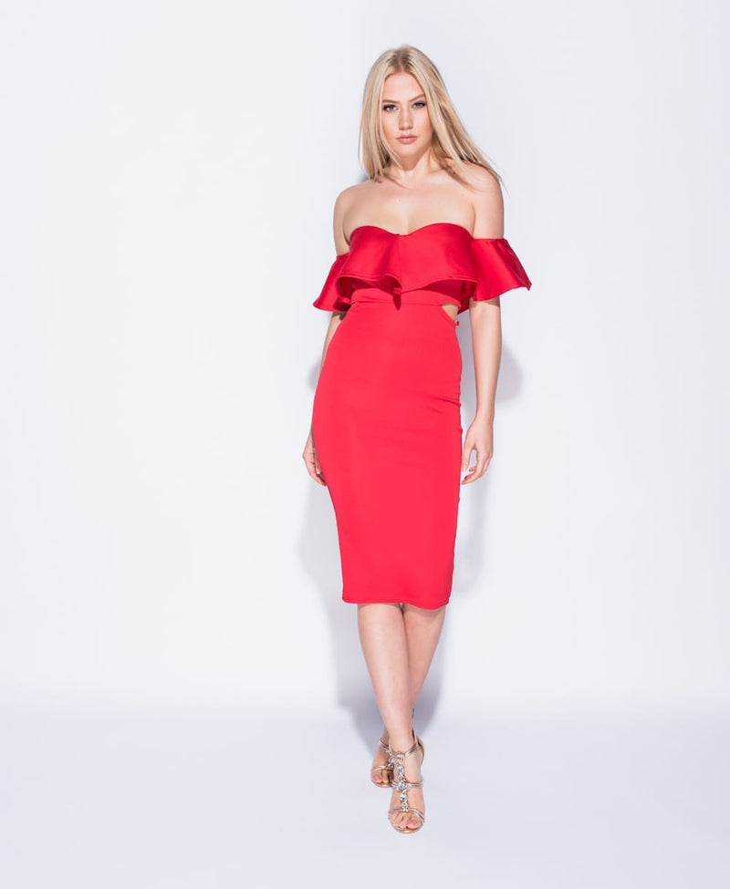 Cut Out Waist Bardot Midi Dress