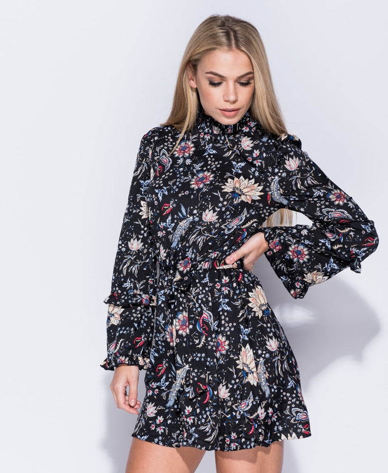 Floral Print Long Sleeve Flare Dress