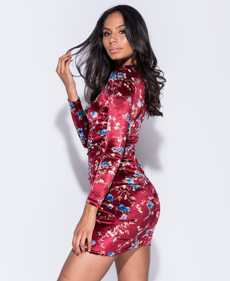 Floral Print Velvet Ruched Mini Dress