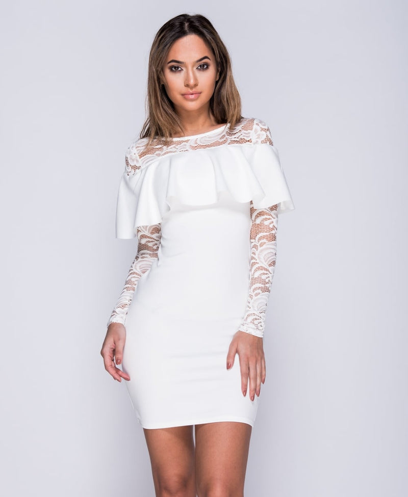 White Frill Front Lace Sleeve Bodycon Dress