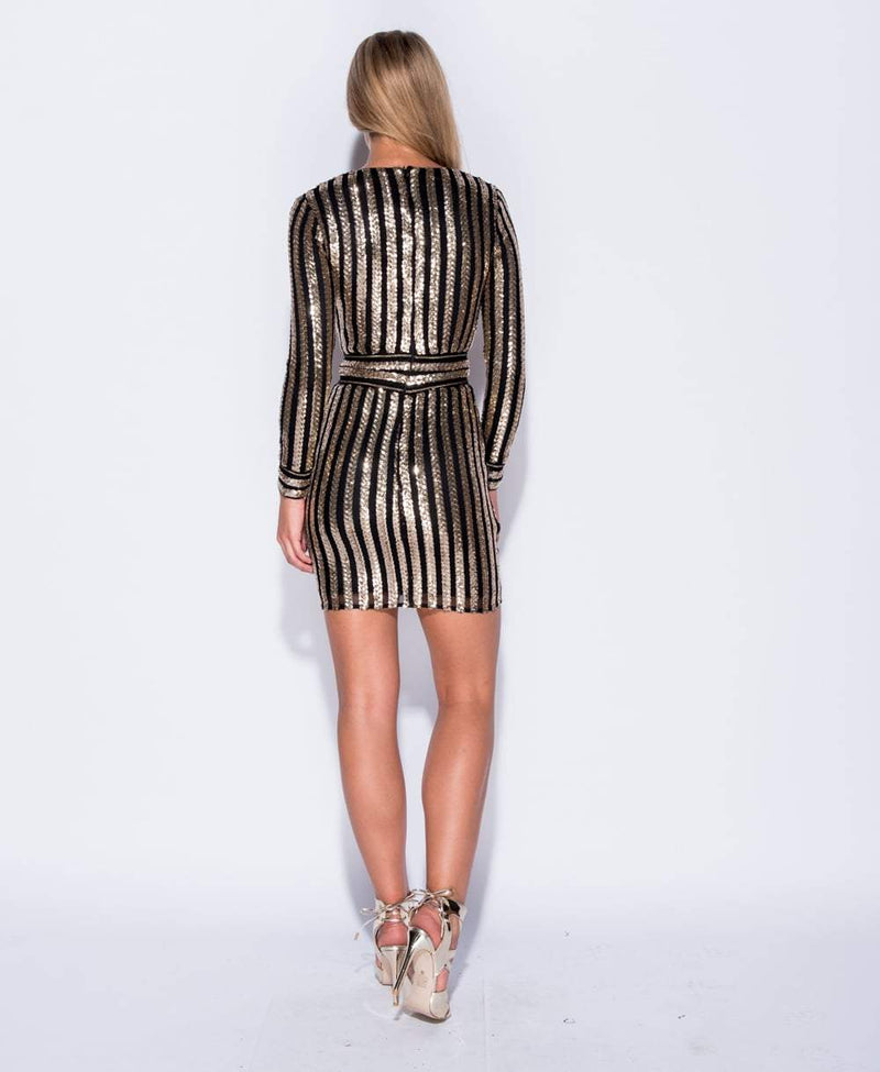 Chain Trim Sequin Stripe Bodycon Dress