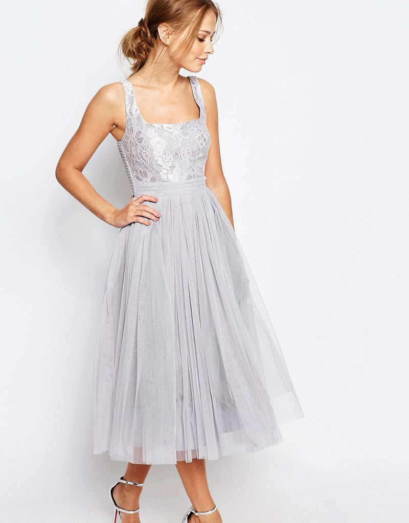 Little Mistress Grey Lace & Mesh Midi Dress - Glitzy Angel