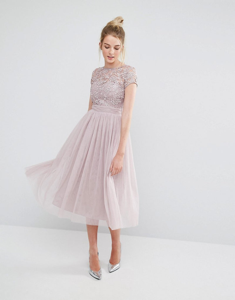 Little Mistress Mink Lace Keyhole Back Midi Dress - Glitzy Angel