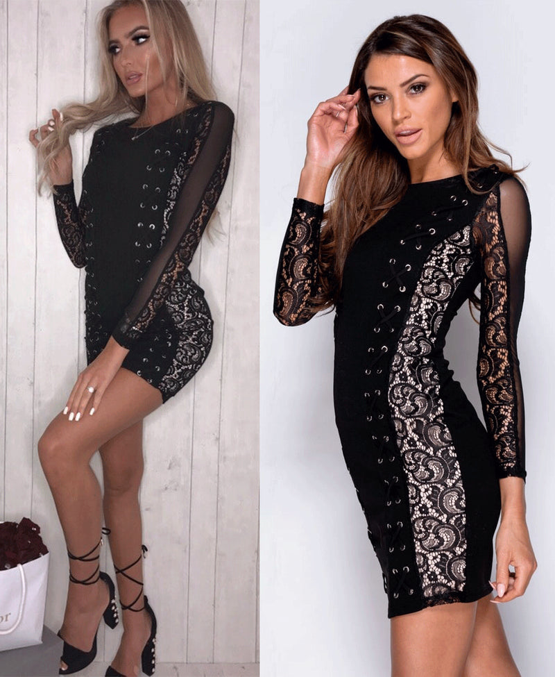 Michelle Keegan Long Sleeve Lace Bodycon Dress