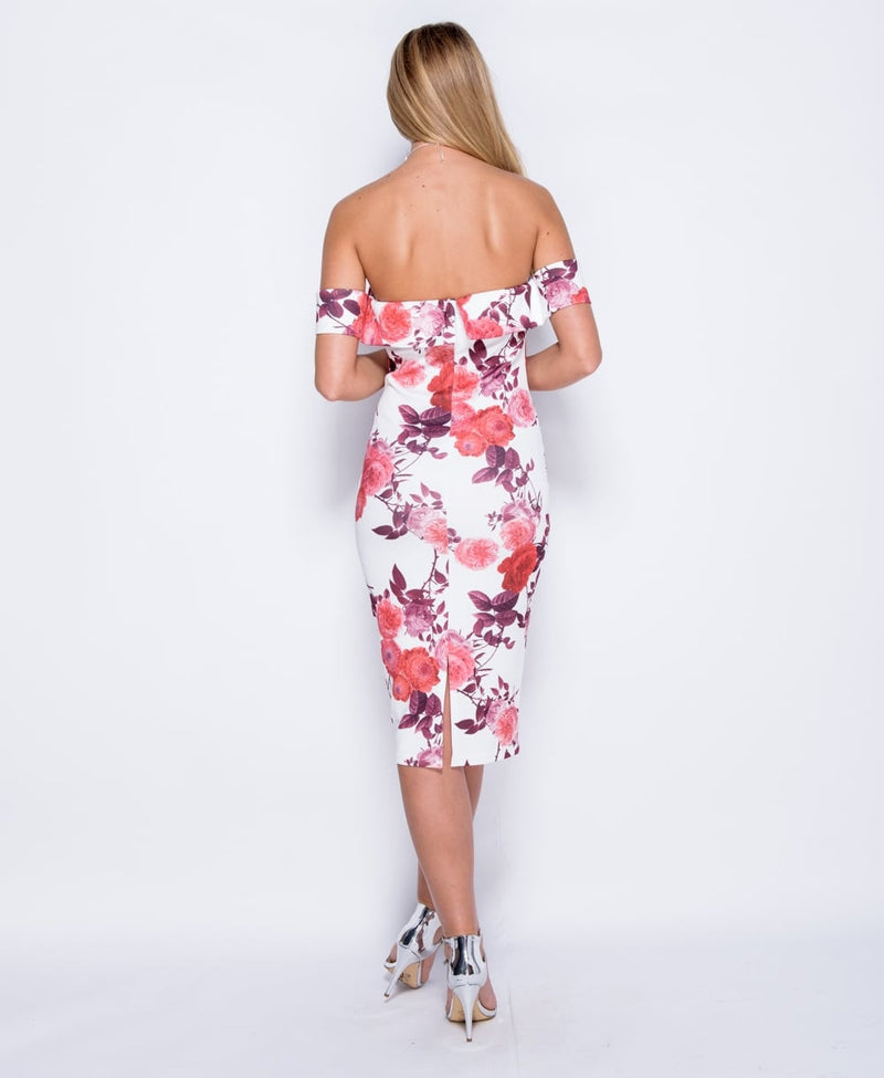 Large Rose Print Bardot Bodycon Midi Dress