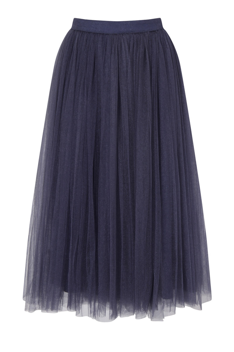 Little Mistress Lavender Grey Tulle Midi Skirt - Glitzy Angel