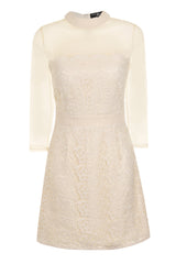 Little Mistress Cream Lace Overlay Mesh Shift Dress