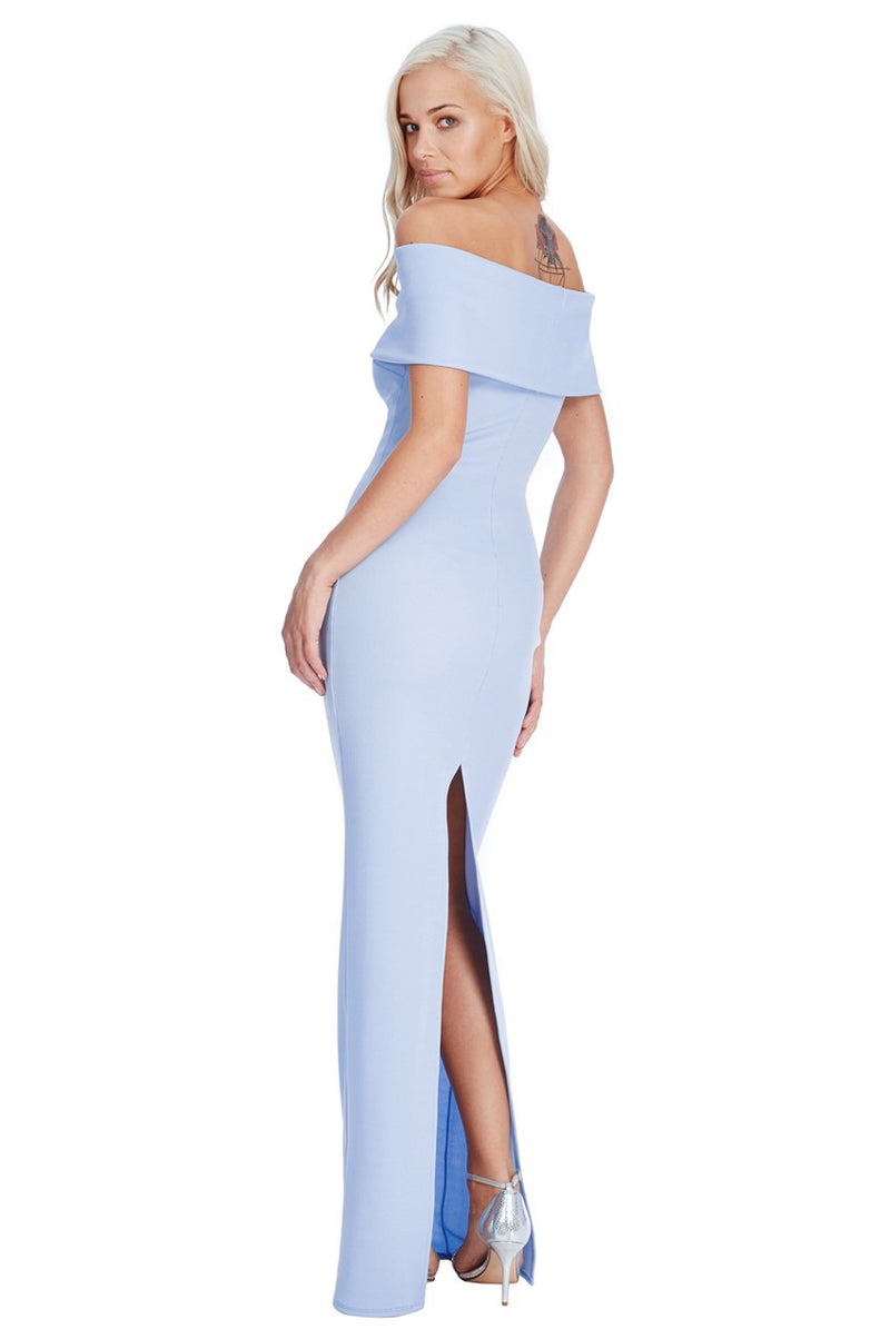 Goddiva Blue Bardot Neckline Maxi Dress - Bridesmaids Dresses - Glitzy Angel