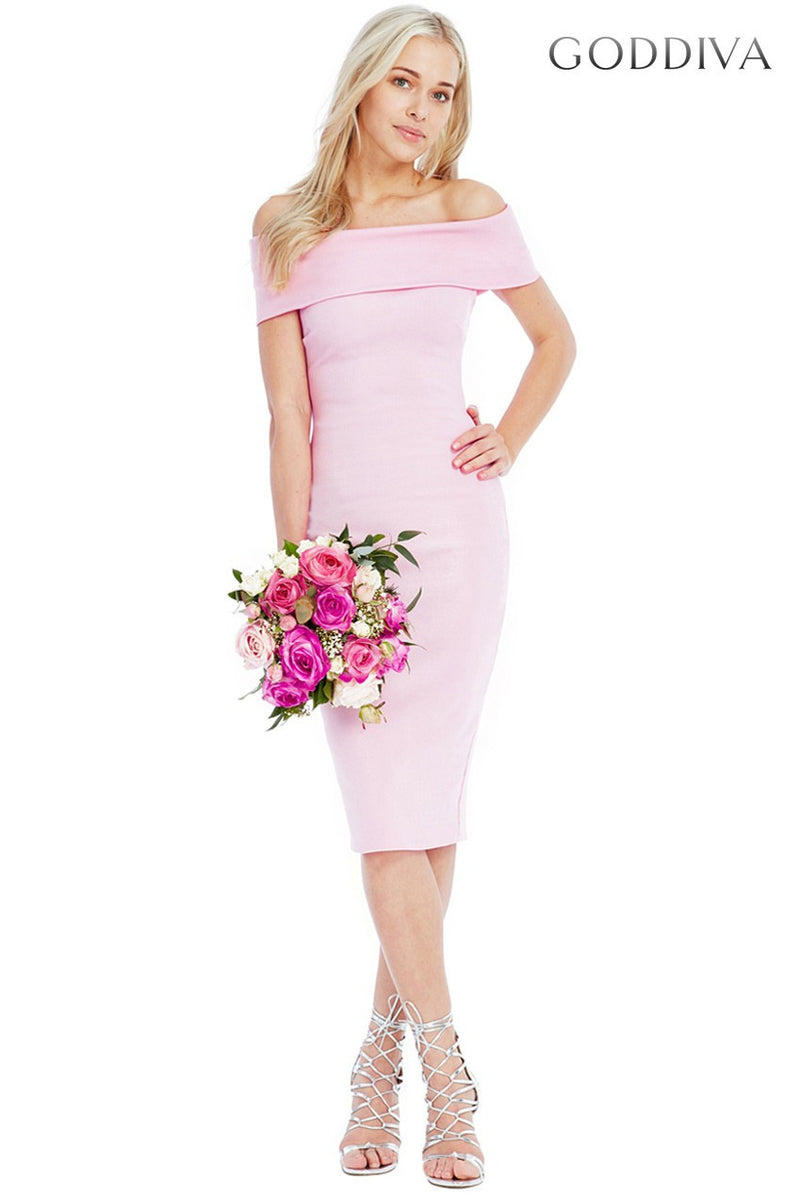 Goddiva Pink Multi Neckline Midi Dress - Wedding Guest Dresses - Glitzy Angel