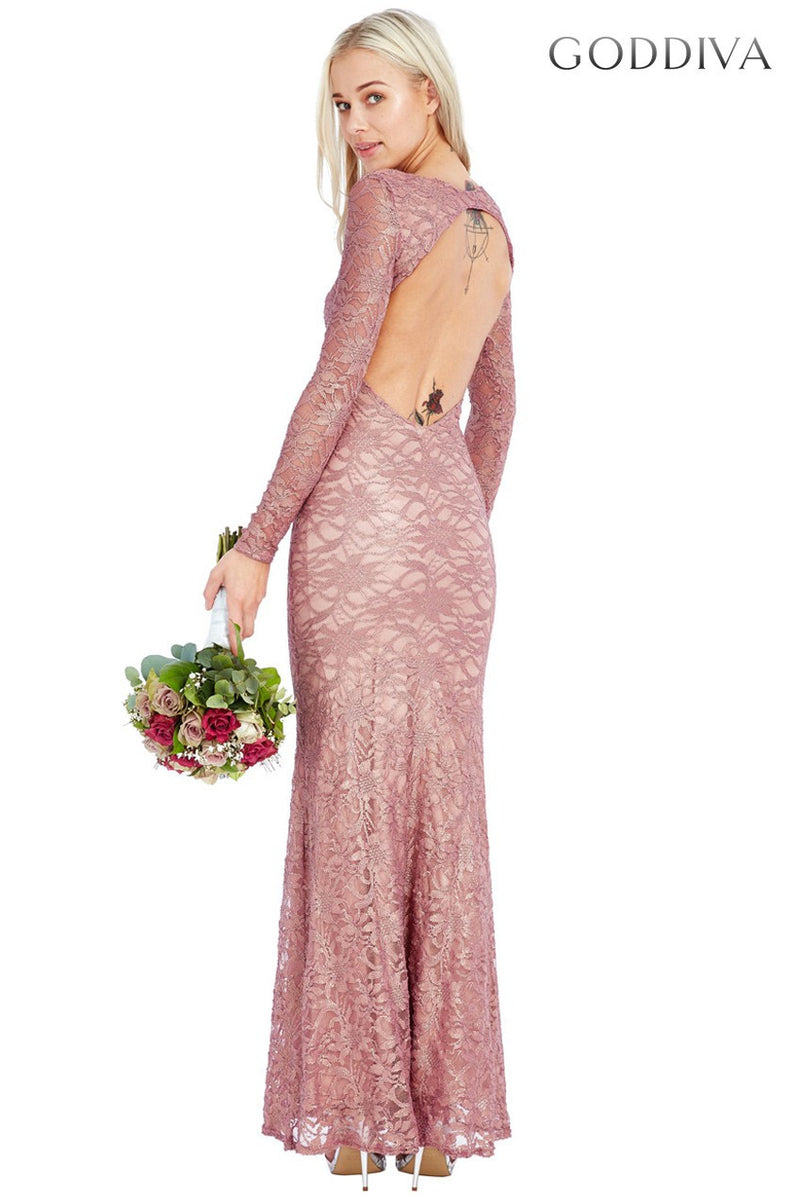 Goddiva Open Back Lace Maxi Dress - Glitzy Angel