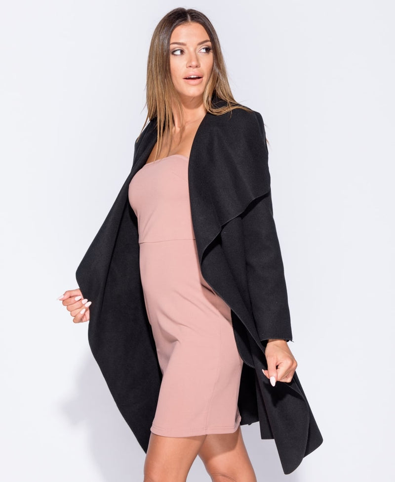 Black oversized Belted Waterfall Coat