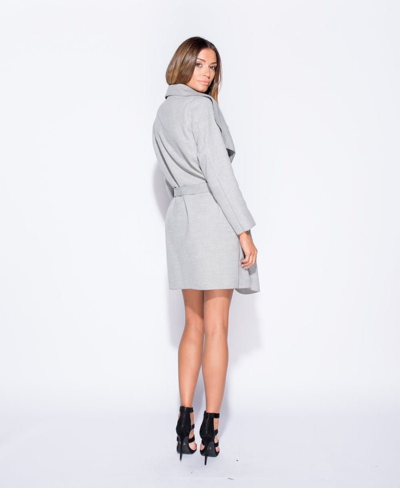 Grey Oversized Belted Waterfall Coat